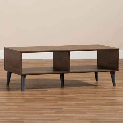 Urban Designs Sterling Wooden Coffee Table in Walnut Brown & Dark Grey Finish