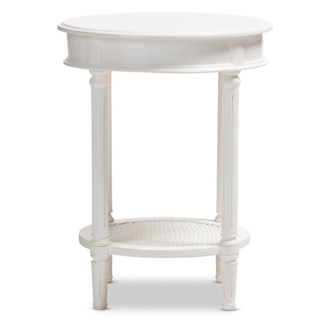 Urban Designs Francis Rustic Wooden End Table with Shelf in White
