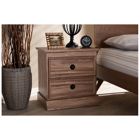 Urban Designs Oak Finished 2-Drawer Nightstand