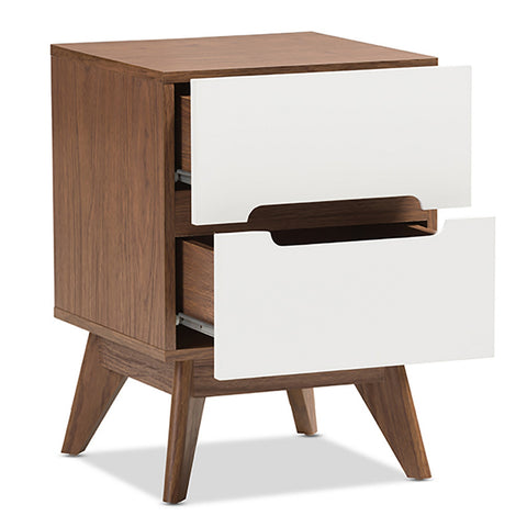 Urban Designs Two Tone White and Walnut Nightstand