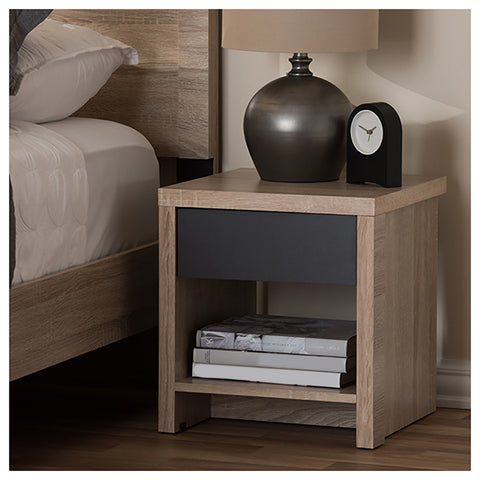 Urban Designs Contemporary Two-Tone Oak and Grey Nightstand