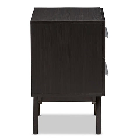 Urban Designs Angular Legs 2-Drawer Nightstand - Dark Brown