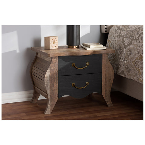 Urban Designs Two Tone Black and Oak Finish Nightstand