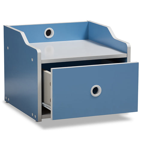 Urban Designs White and Blue Children's Nightstand
