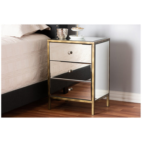 Urban Designs Mirrored Three Nightstand With Metal Frame