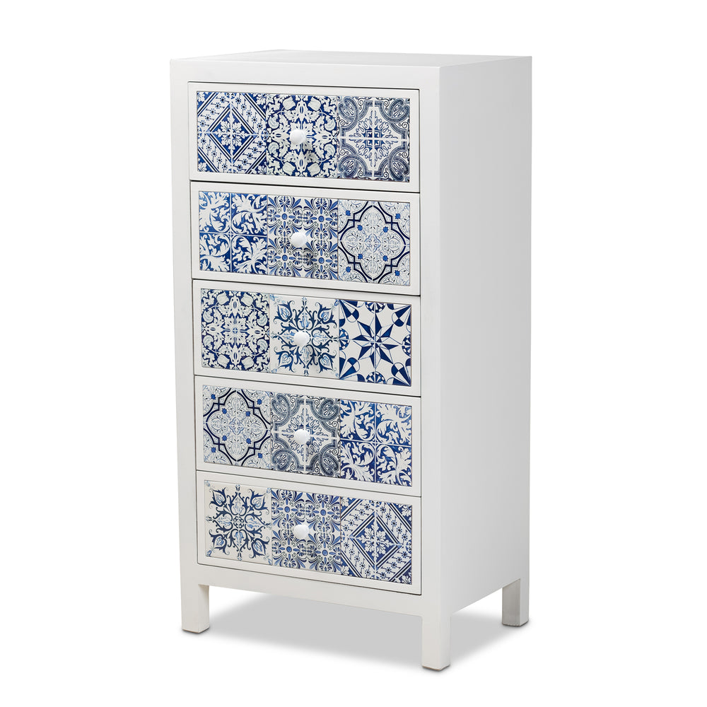 Urban Designs Mediterranean Blue Floral Tile 5-Drawer Accent Chest