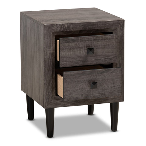 Urban Designs Faye Mid-Century Modern 2-Drawer Wood Nightstand - Grey