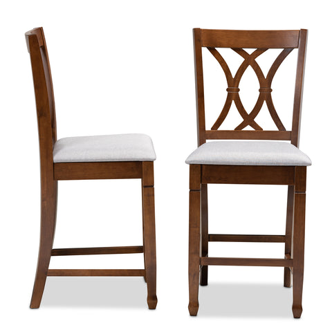 Urban Designs Rowan 2-Piece Upholstered Wooden Counter Chair Set - Walnut Brown