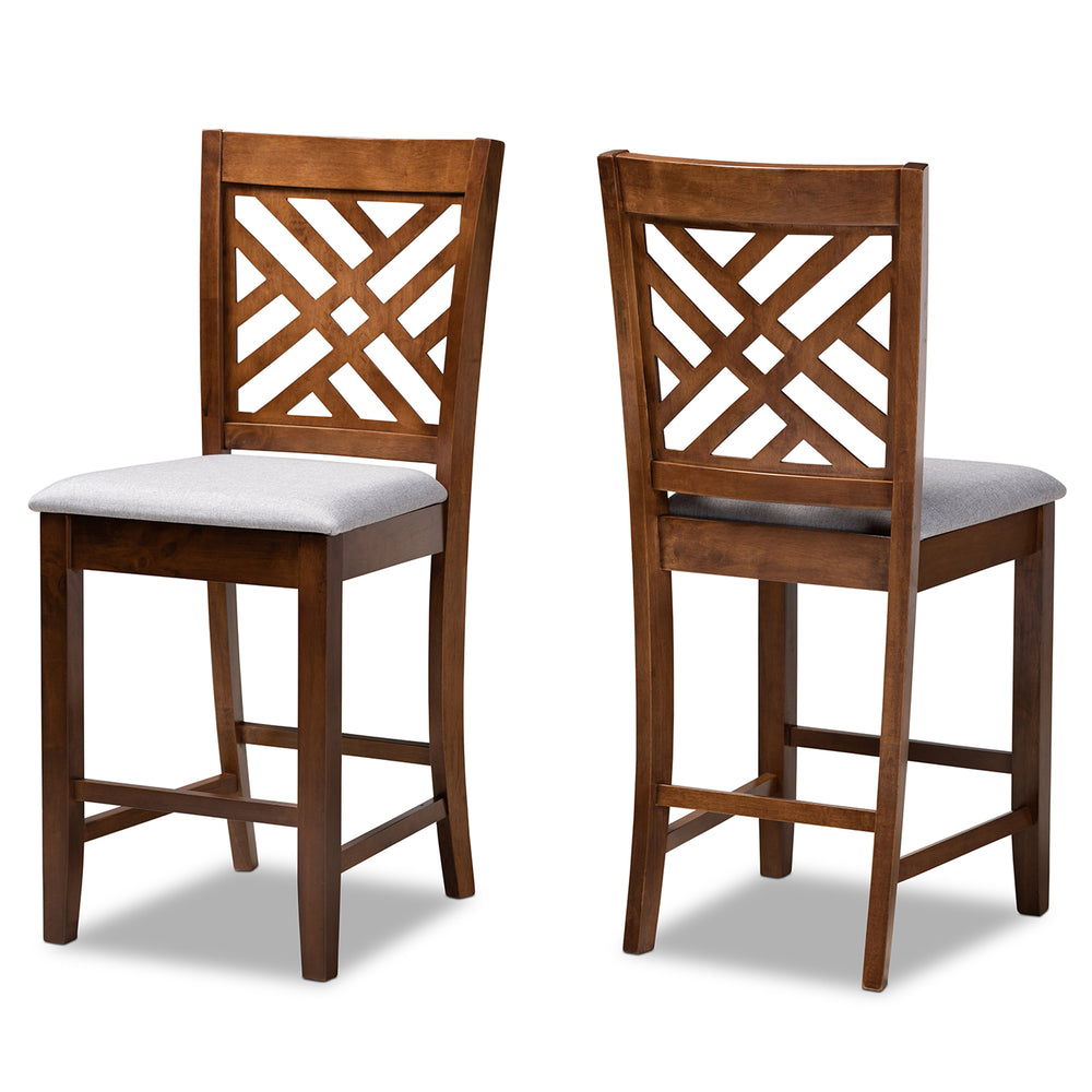 Urban Designs Creston 2-Piece Upholstered Wooden Counter Chair Set - Walnut Brown