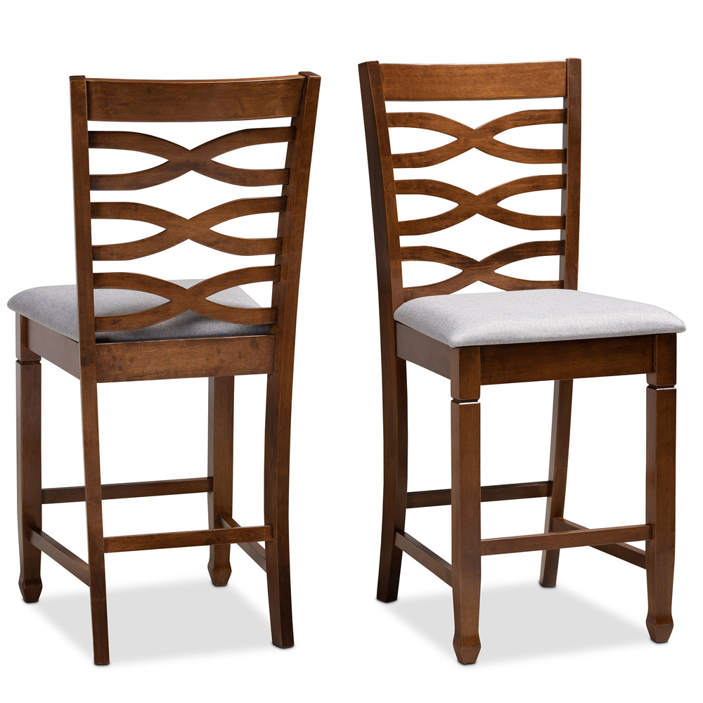 Urban Designs Levan 2-Piece Upholstered Wooden Counter Chair Set - Walnut Brown
