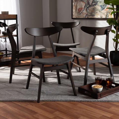 Urban Designs Byrne 4-Piece Wood Dining Chair Set - Dark Brown & Dark Grey