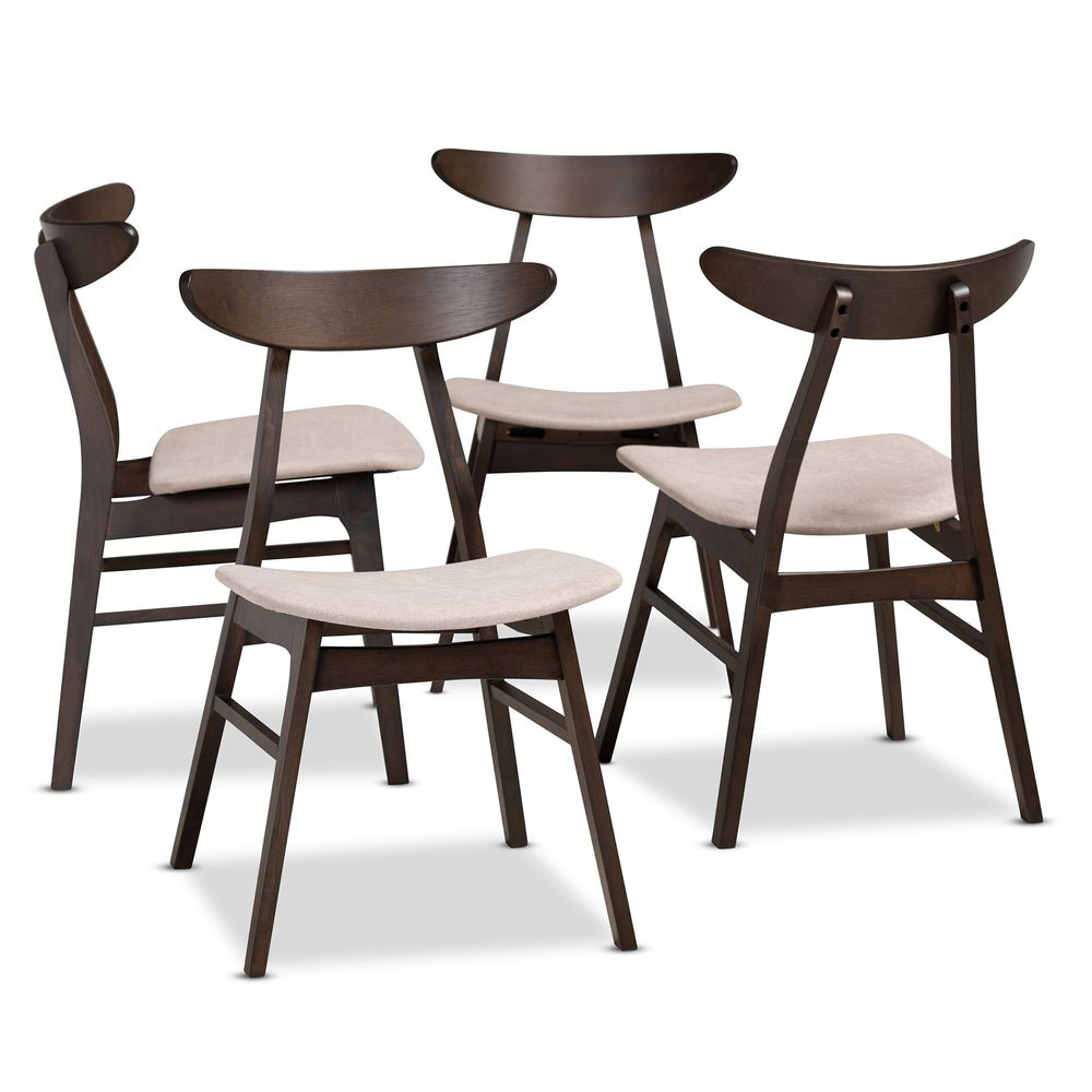 Urban Designs Byrne 4-Piece Wood Dining Chair Set - Dark Brown & Beige