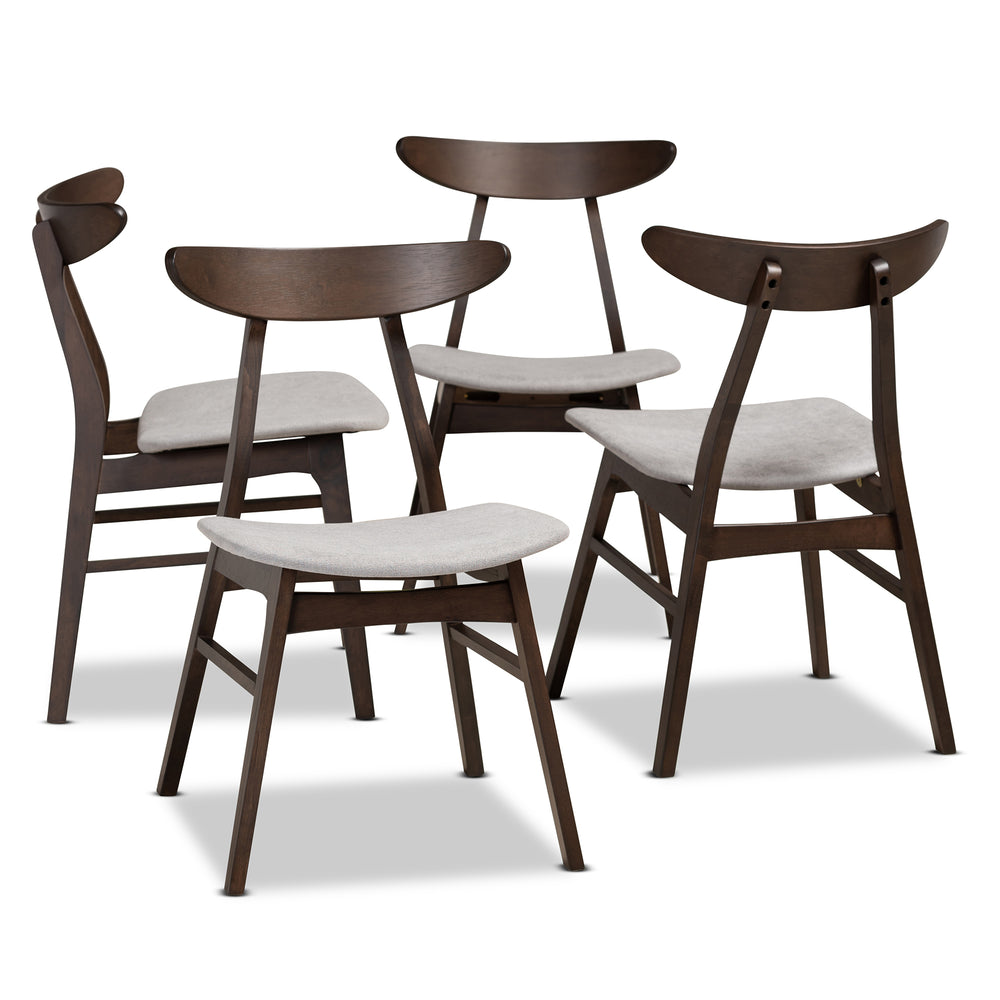 Urban Designs Byrne 4-Piece Wood Dining Chair Set - Dark Brown & Light Grey