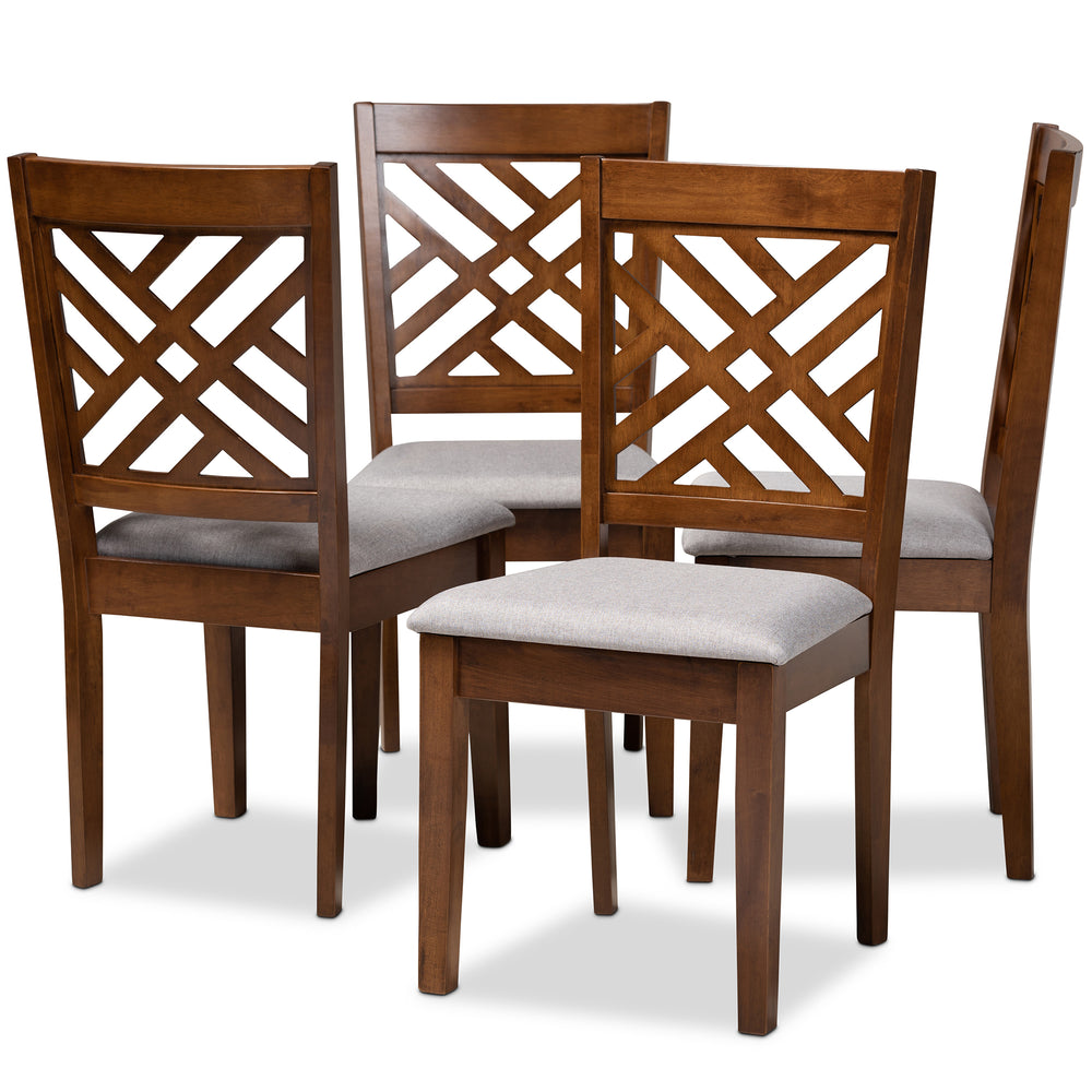 Urban Designs Creston 4-Piece Upholstered Wooden Dining Chair Set - Walnut Brown