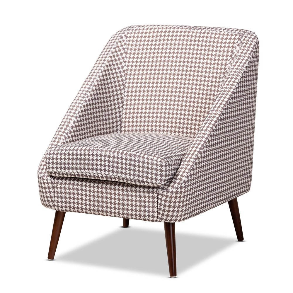 Urban Designs Gwyneth Contemporary Houndstooth Accent Chair - Brown & White