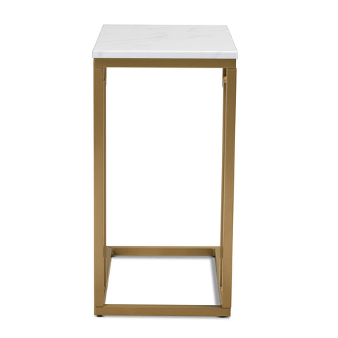 Urban Designs Remminth Faux Marble Metal End Table - Brushed Gold