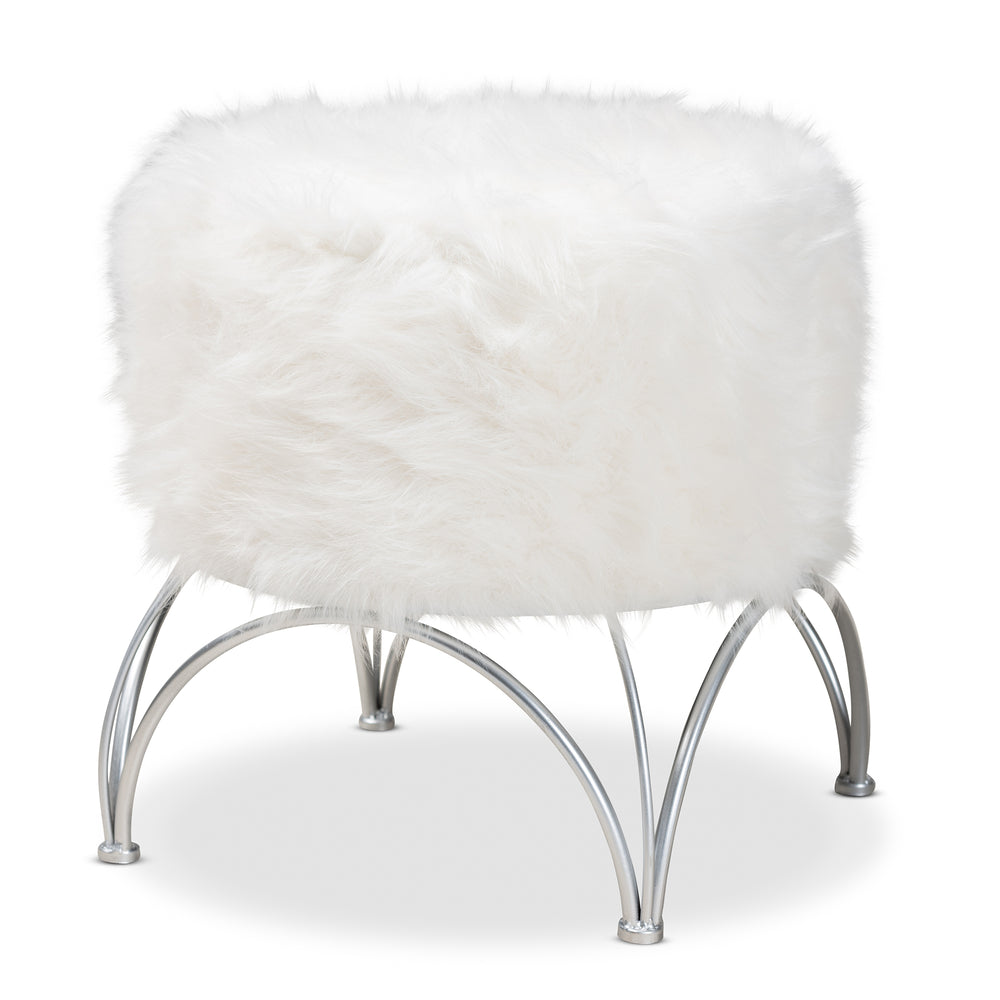 Urban Designs Chelsey Faux Fur Upholstered Silver Metal Ottoman - White