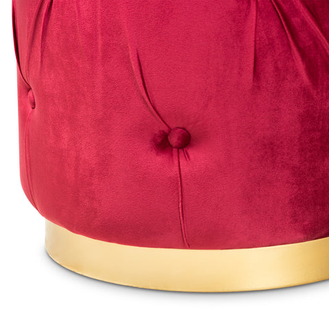 Urban Designs Gilda Retro-Inspired Button-Tufted Ottoman - Red Velvet