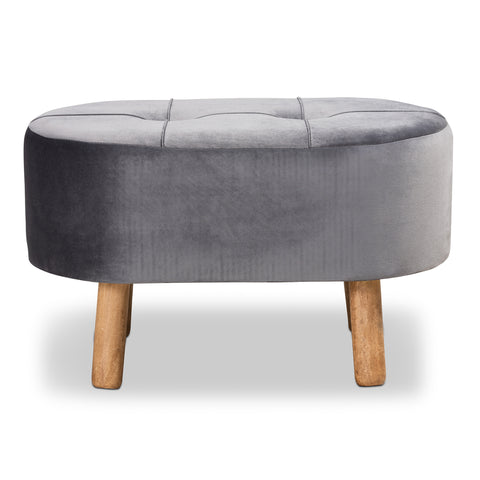 Urban Designs Serena Velvet Fabric Upholstered 4-Leg Wood Ottoman - Grey