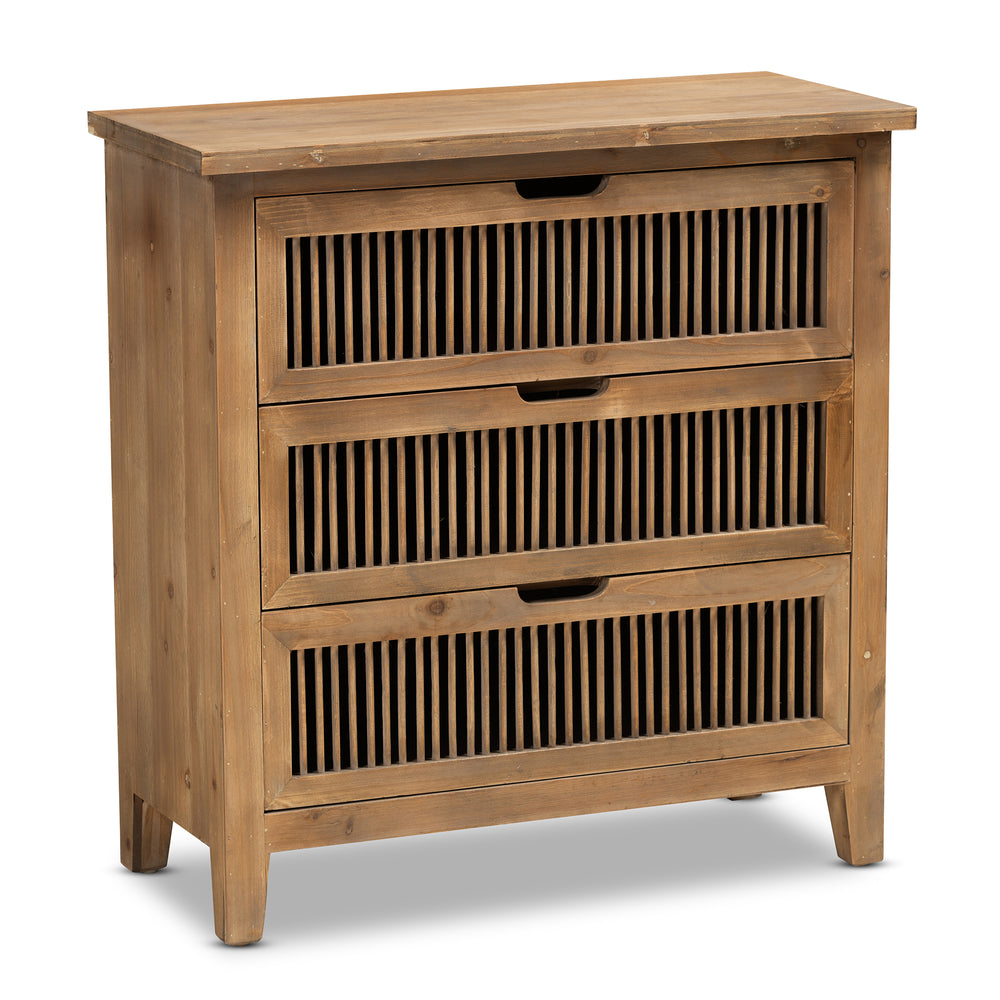 Urban Designs Claret Slatted 3-Drawer Wooden Chest - Oak Brown