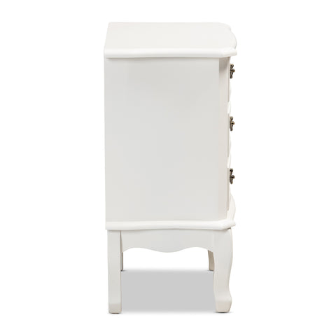 Urban Designs Giselle French Inspired 3-Drawer Wooden Nightstand - White