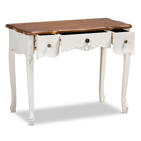 Urban Designs Sybil French Inspired 3-Drawer Cabriole Leg Wooden Console Table