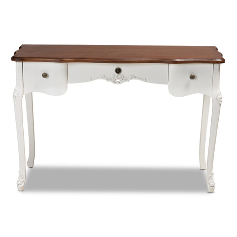 Urban Designs Sienna French Inspired 3-Drawer Cabriole Leg Wooden Console Table