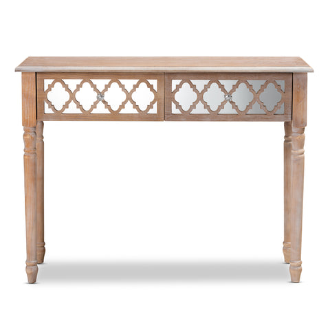 Urban Designs Celine 2-Drawer Mirror and Wood Quatrefoil Console Table - White Wash