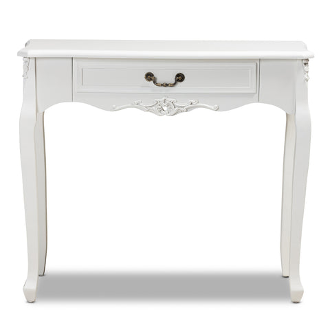 Urban Designs Giselle French Inspired 1-Drawer Wooden Console Table - White