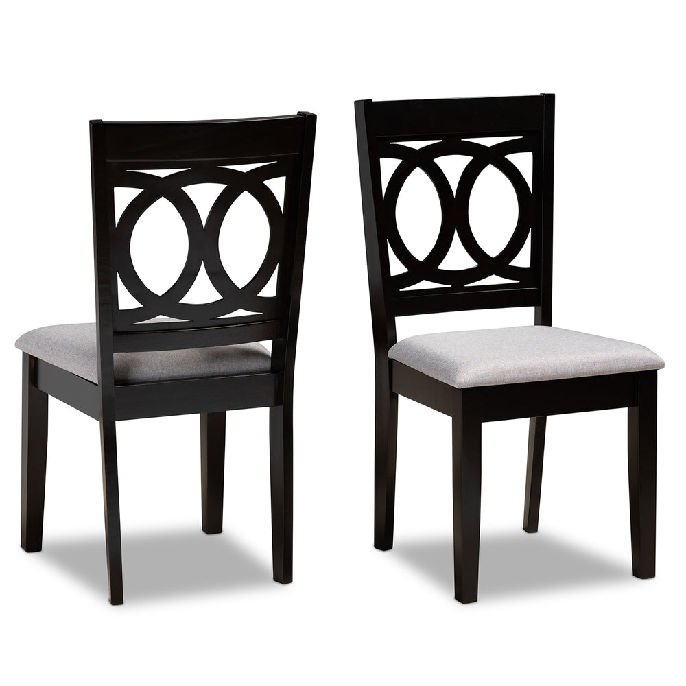 Urban Designs Leia 2-Piece Upholstered Espresso Wood Dining Chair Set - Grey Fabric