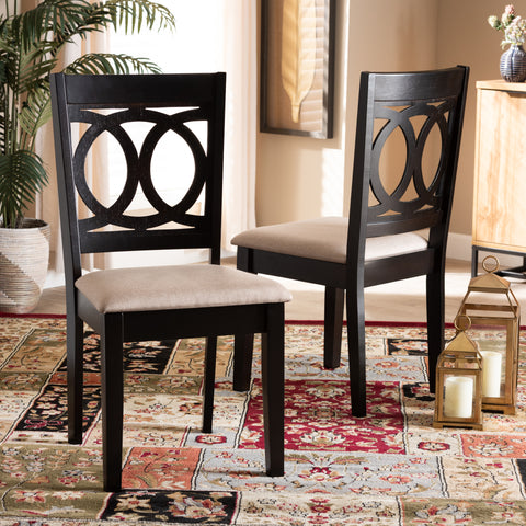 Urban Designs Leia 2-Piece Upholstered Espresso Wood Dining Chair Set - Sand Fabric