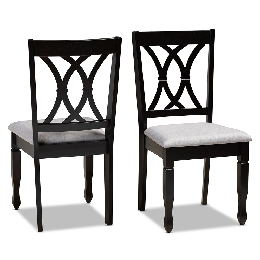 Urban Designs Renard 2-Piece Upholstered Espresso Wood Dining Chair Set - Grey Fabric