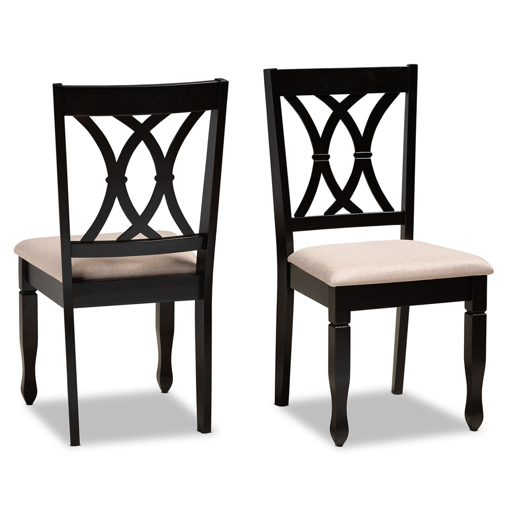 Urban Designs Renard 2-Piece Upholstered Espresso Wood Dining Chair Set - Sand Fabric