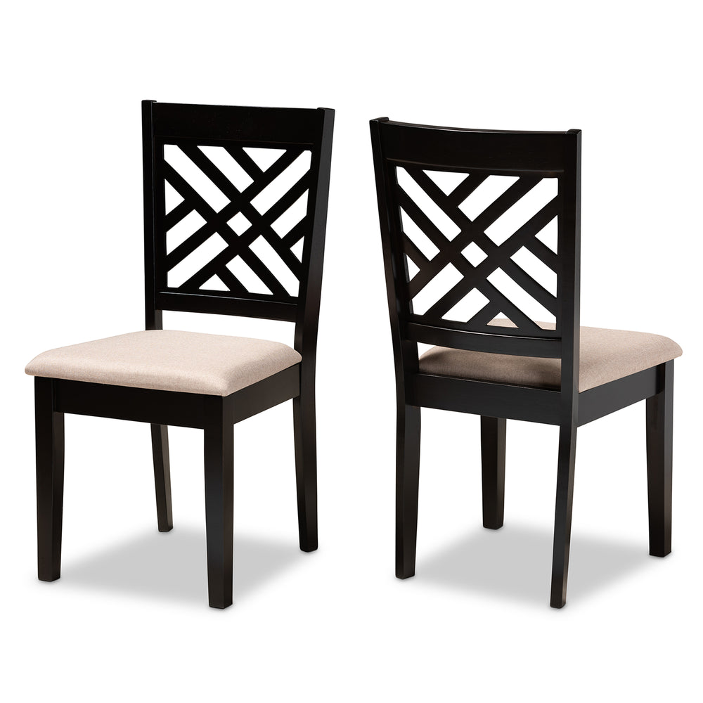 Urban Designs Carson 2-Piece Upholstered Espresso Wood Dining Chair Set - Sand Fabric