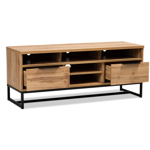 Urban Designs Riley Industrial 2-Drawer Wooden TV Stand - Oak Finish