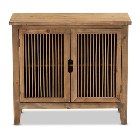 Urban Designs Claret Slatted 2-Door Wooden Storage Cabinet - Oak Brown