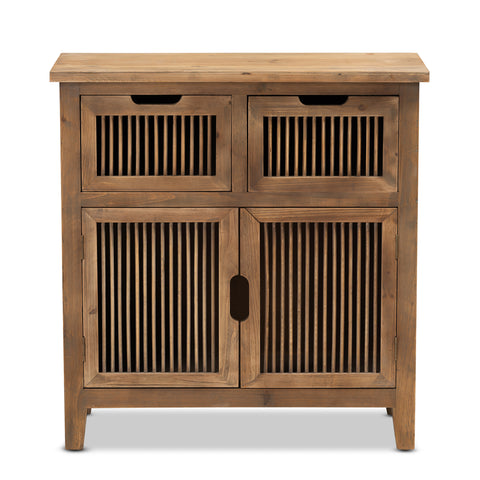 Urban Designs Claret Slatted 2-Door and 2-Drawer Wooden Storage Cabinet - Oak Brown