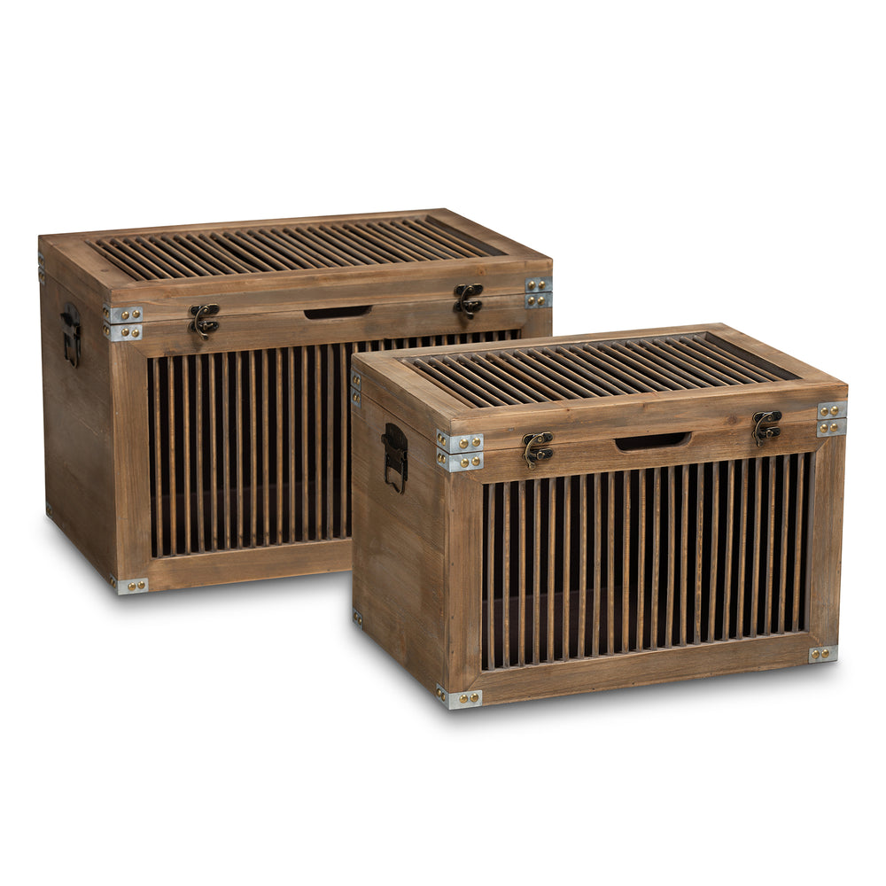 Urban Designs Claret Slatted 2-Piece Wooden Storage Trunk Set - Oak Brown