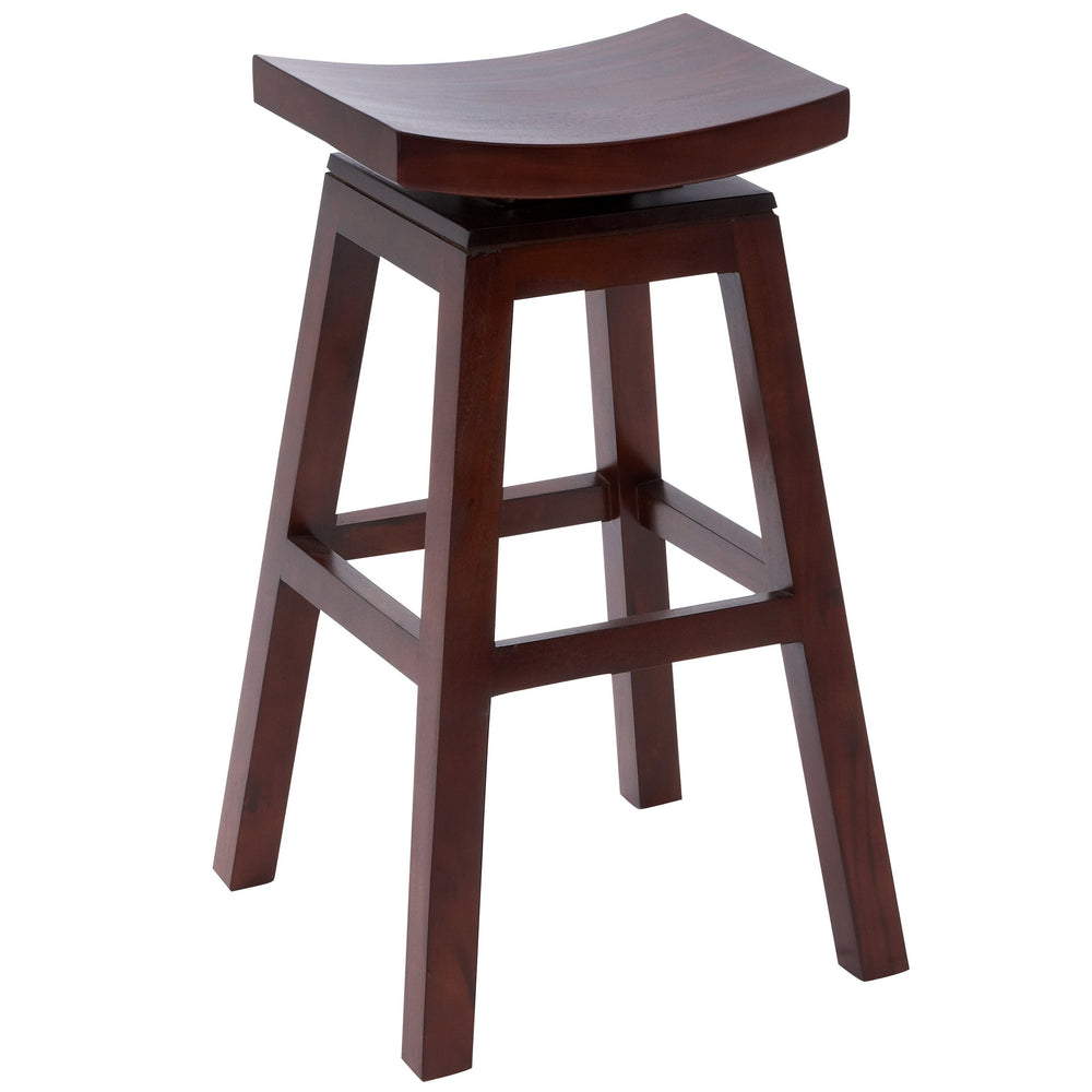 "Urban Designs 30"" Solid Wood Swivel Bar Stool - Dark Cherry Brown"