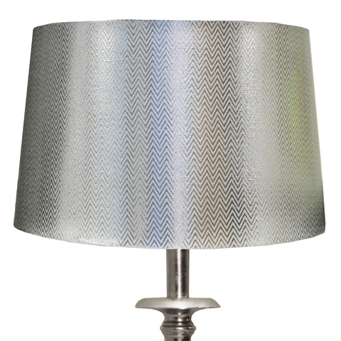 Urban Designs Hand-Forged Weathered Metal Table Lamp with Silver Chevron Shade