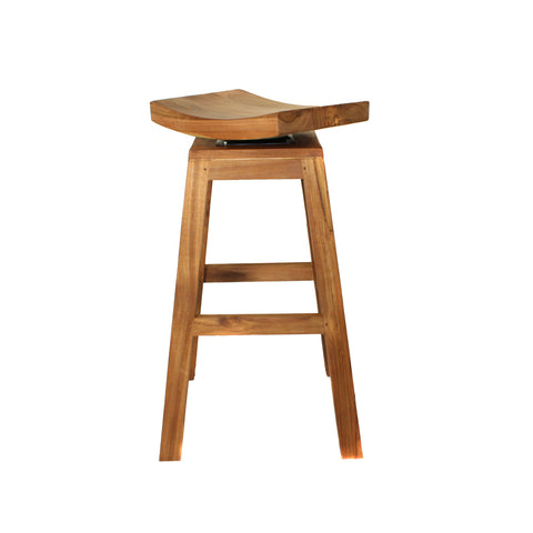 "Urban Designs 30"" Solid Teak Wood Swivel Bar Stool - Natural Teak Brown"