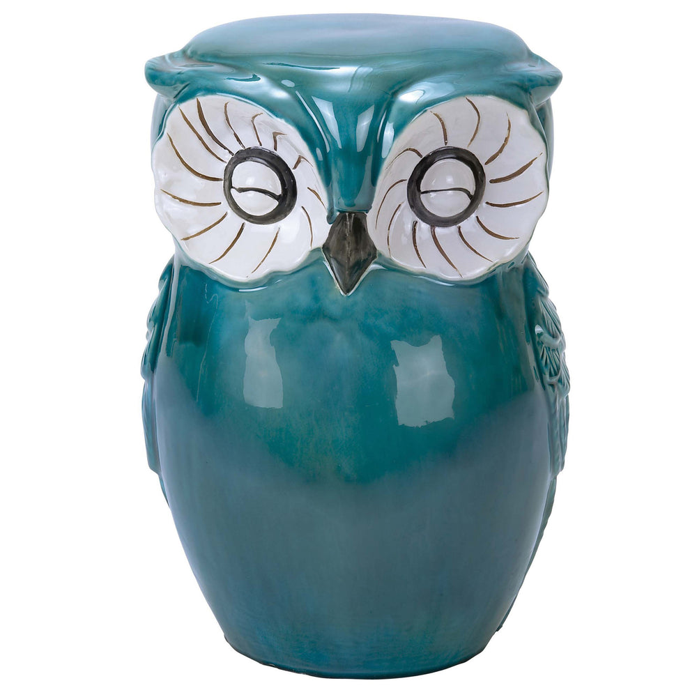 Urban Designs Hand-Painted Ceramic Owl Stool - Aqua