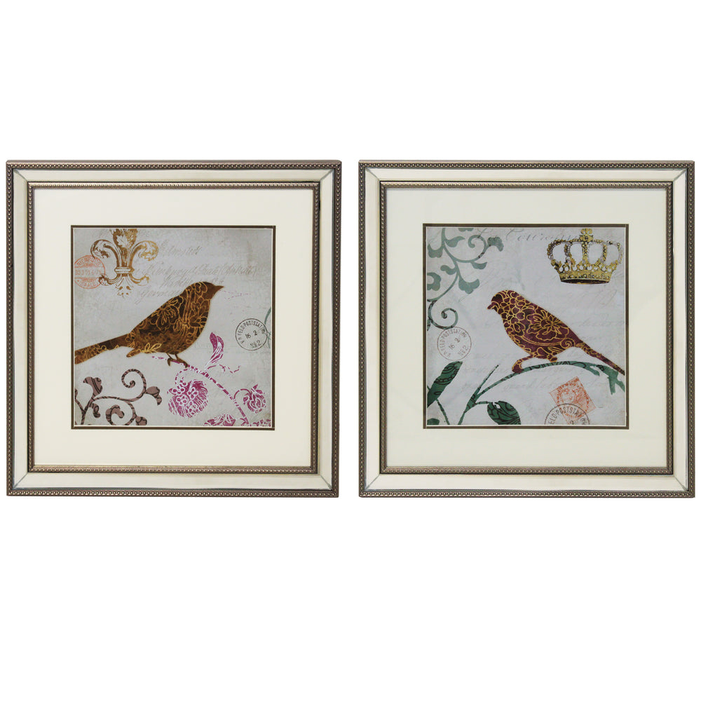 Urban Designs Morning Birds Square Decorative Wall Art (Set of 2)