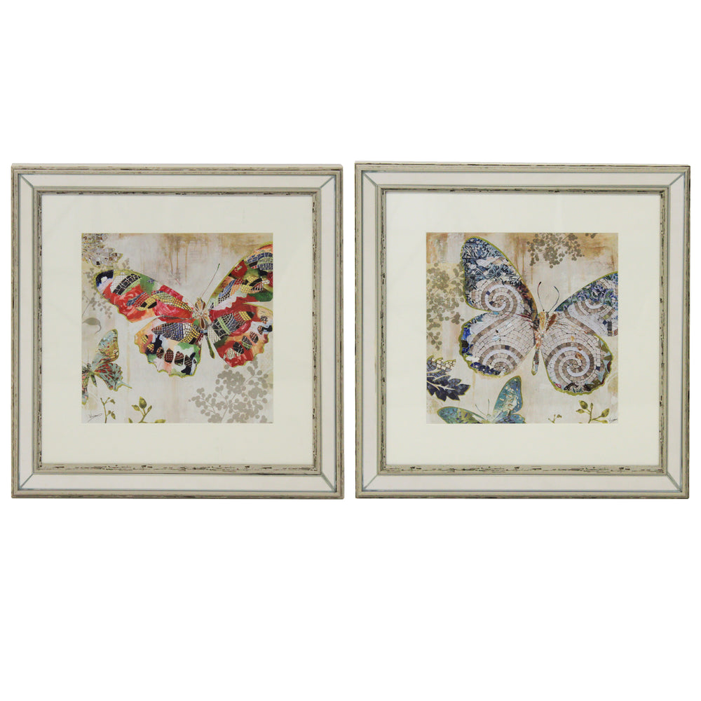 Urban Designs Butterfly Framed Wall Art (Set of 2)
