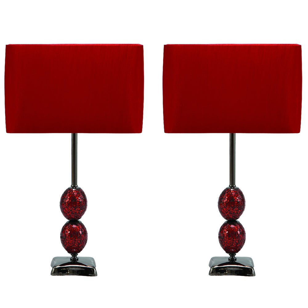 "Urban Designs Red Mosaic Cracked Glass 25"" Table Lamp - Set of 2"