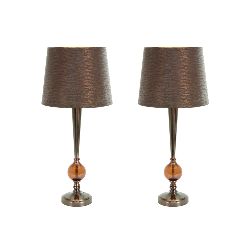 "Urban Designs 25"" Amber Metallic Table Lamp with Bronze Shade - Set of 2"