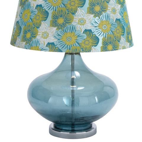"Urban Designs 27"" Clear Glass Table Lamp - Blue Spring Flowers"