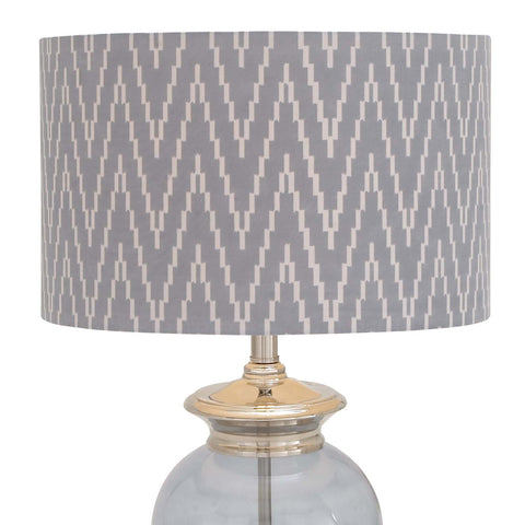 "Urban Designs Gray Blue Glass 27"" Table Lamp with Herringbone Shade"