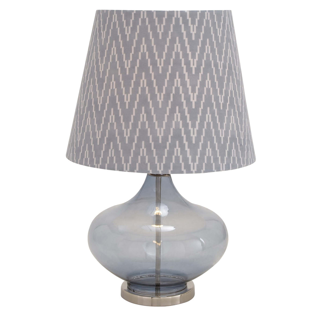 "Urban Designs Smoked Blue Glass 27"" Table Lamp with Herringbone Shade"