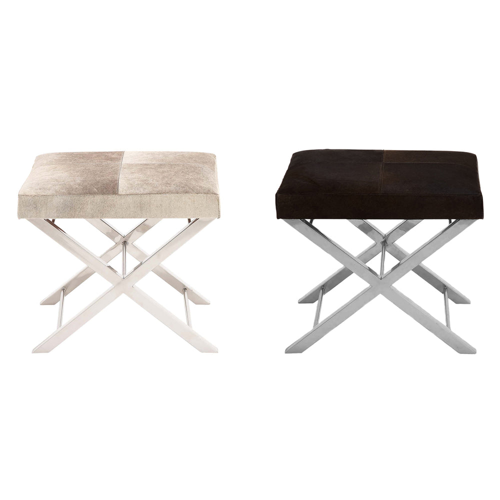 Urban Designs Modern Steel and Cowhide Leather Counter Stool